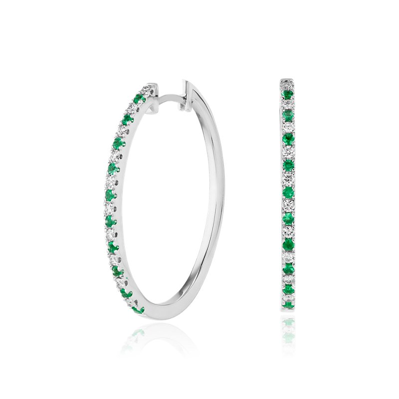 Emerald and Diamond Oval Hoop Earrings in 14k White Gold (1.4mm)