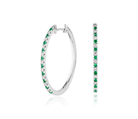 Emerald and Diamond Oval Hoop Earrings in 14k White Gold
