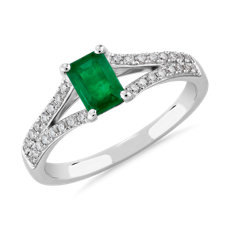 NEW Emerald and Diamond Ring in 14k White Gold
