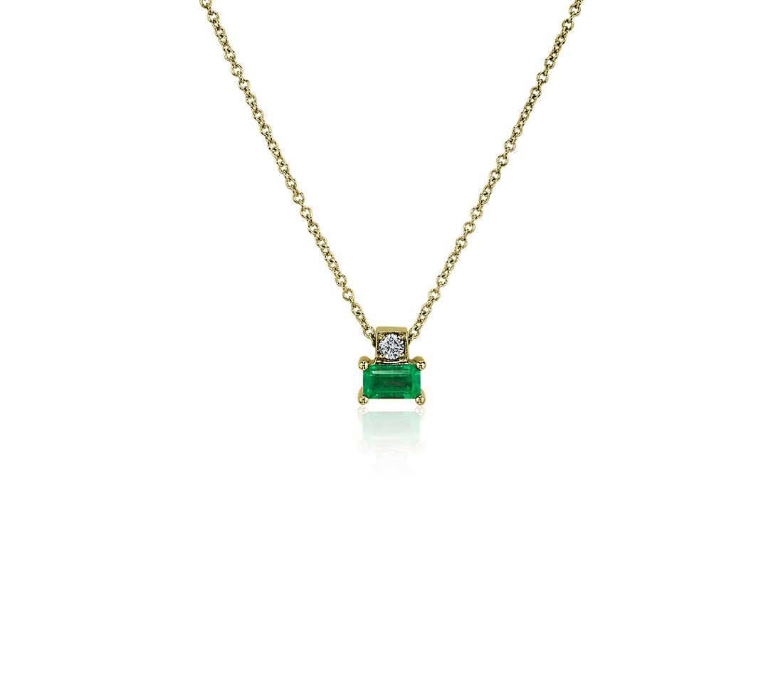 Emerald and Diamond Solitaire Pendant in 14k Yellow Gold