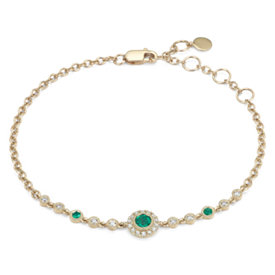 Emerald and Diamond Vintage Inspired Bracelet in 14k Yellow Gold (3.5mm)