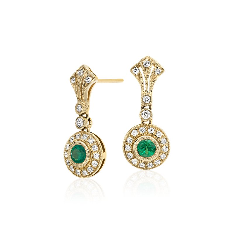Emerald and Diamond Vintage-Inspired Milgrain Drop Earrings in 14