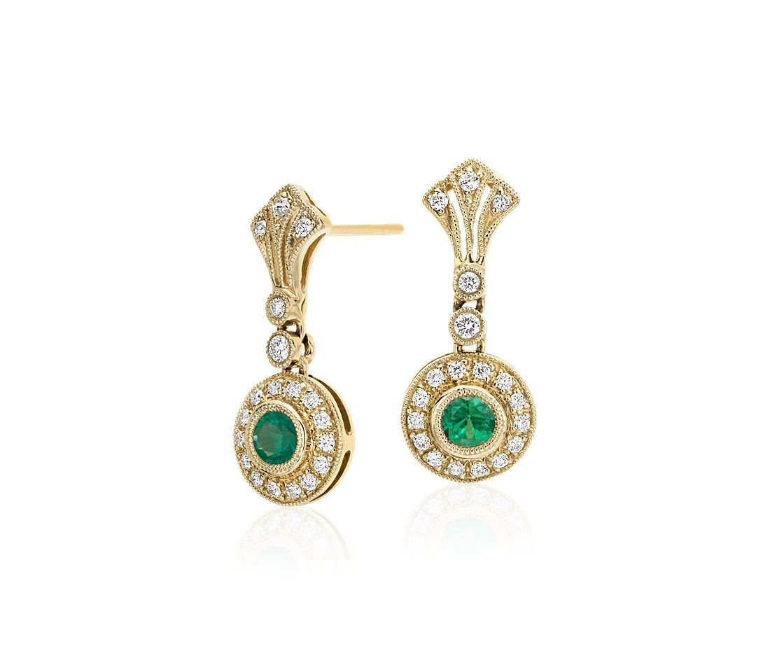 Emerald and Diamond Vintage-Inspired Milgrain Earrings in 14k Yellow Gold (3.5mm)