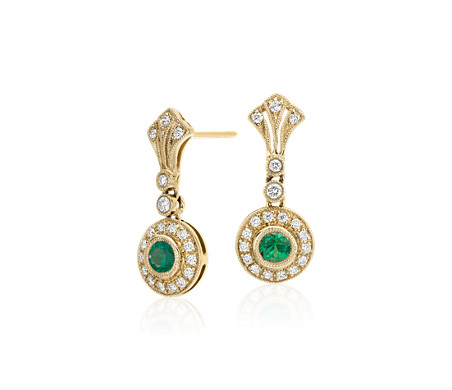 Emerald And Diamond Vintage Inspired Milgrain Drop Earrings In 14k Yellow Gold 3 5mm