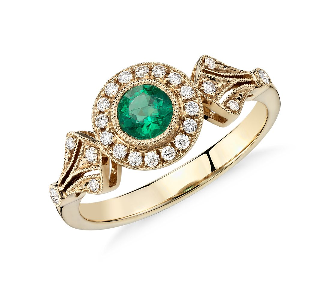 Emerald and Diamond Halo Vintage Inspired Milgrain Ring in 14k Yellow Gold 4