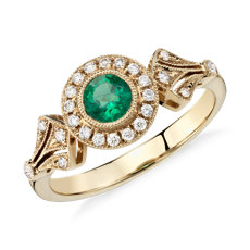 Emerald and Diamond Halo Vintage-Inspired Milgrain Ring in 14k Yellow Gold (4mm)