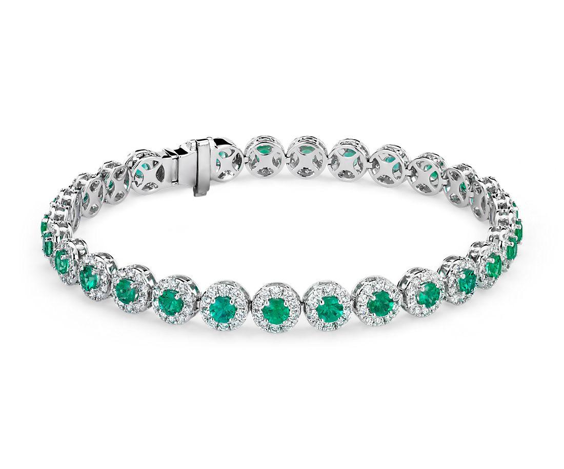 Bracelet d'éternité émeraudes et diamants sertis micro-pavé en or blanc 18carats (4mm)