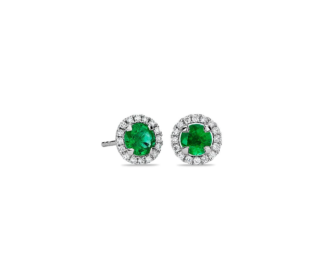 Emerald and Micropavé Diamond Halo Stud Earrings in 18k White Gold (5mm)