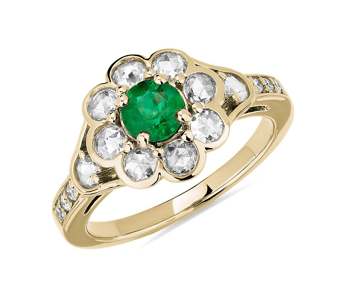 Emerald and Rose Cut Diamond Flower Ring in 18k Yellow Gold