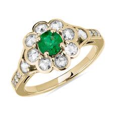 18k 金祖母绿和玫瑰形切割钻石花朵戒指