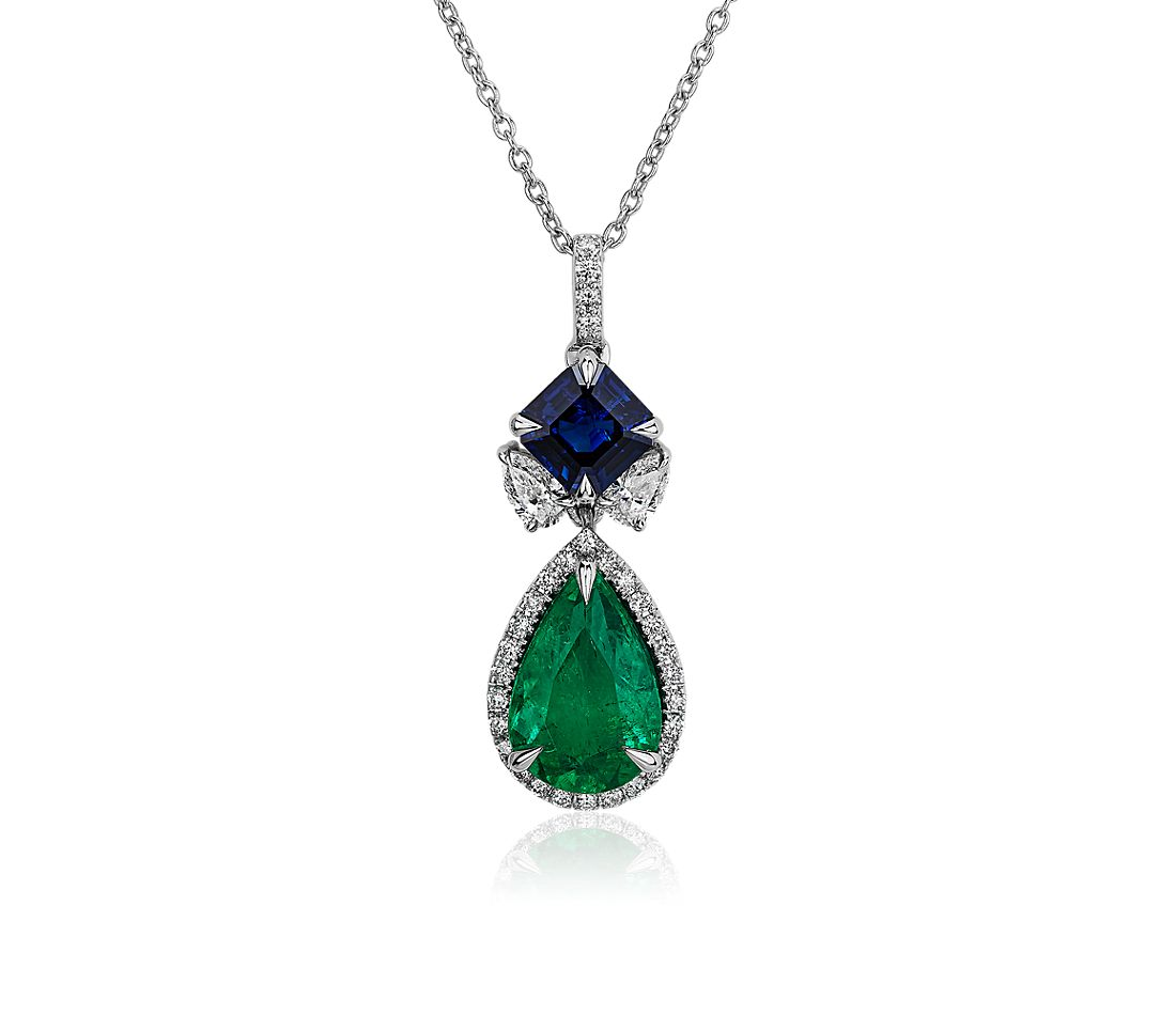 Emerald and Sapphire Diamond Drop Pendant in 18k White Gold