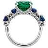 18k 白金祖母绿和蓝宝石钻石戒指