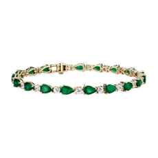 Emerald and White Sapphire Bracelet in 14K Yellow Gold