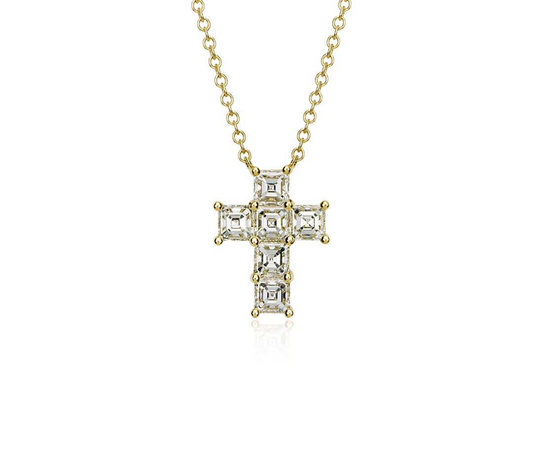 Asscher-Cut Diamond Cross Pendant in 18k Yellow Gold (2 1/10 ct. tw.)