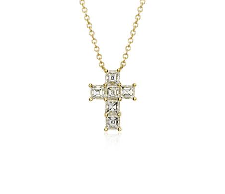 Blue Nile Petite Diamond Cross Pendant in 14k White Gold (1/10 ct. tw.) MPseYz0a