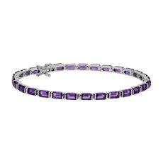 新款 925 純銀綠寶石形切割紫水晶手鍊