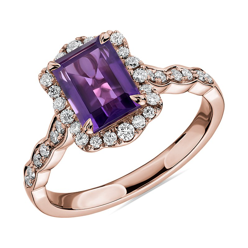 Emerald Cut Amethyst Ring with Diamond Halo in 14k Rose Gold