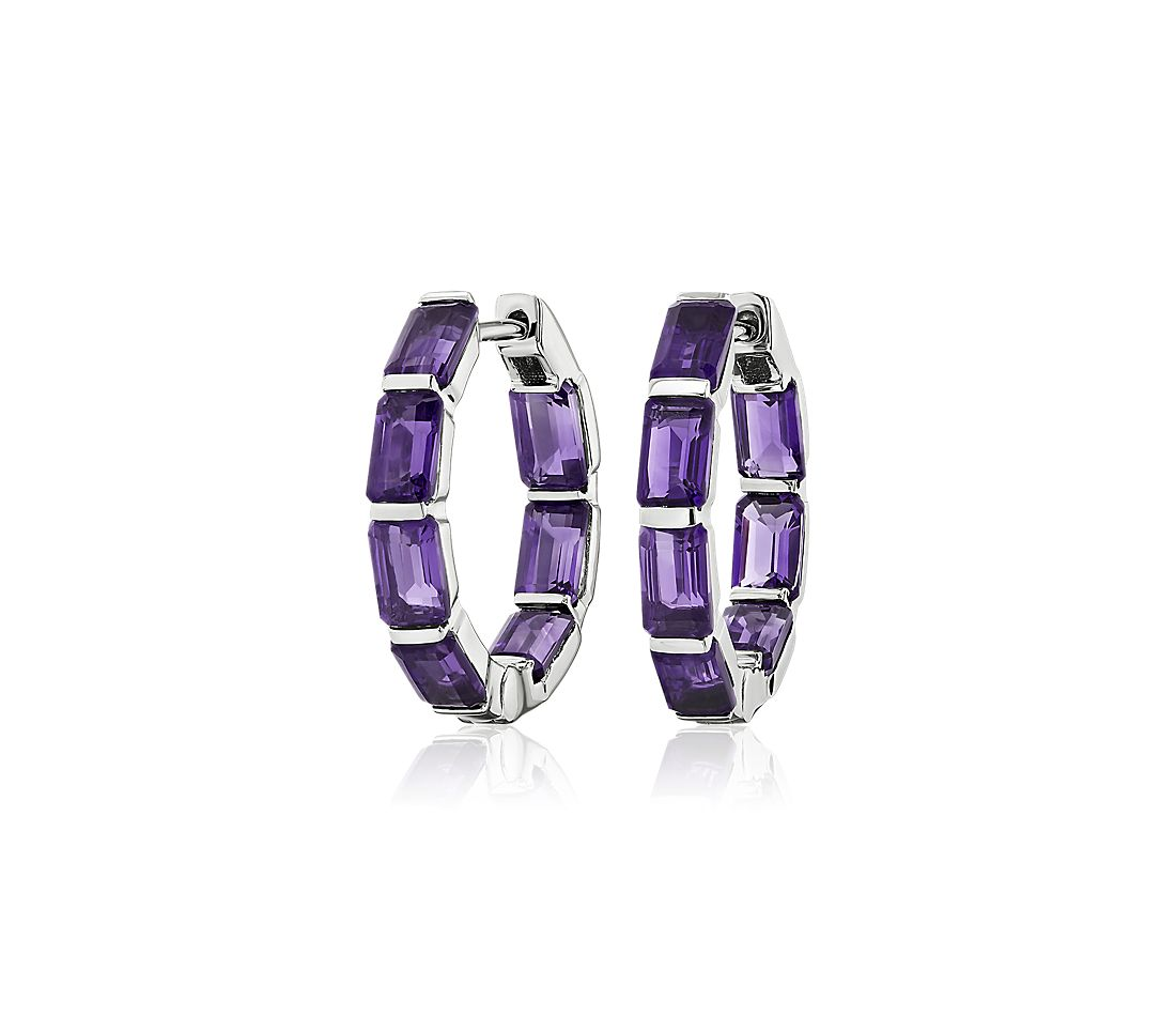 Emerald Cut Amethyst Hoop Earrings in Sterling Silver (15mm)