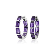 NEW Emerald Cut Amethyst Hoop Earrings in Sterling Silver (15mm)