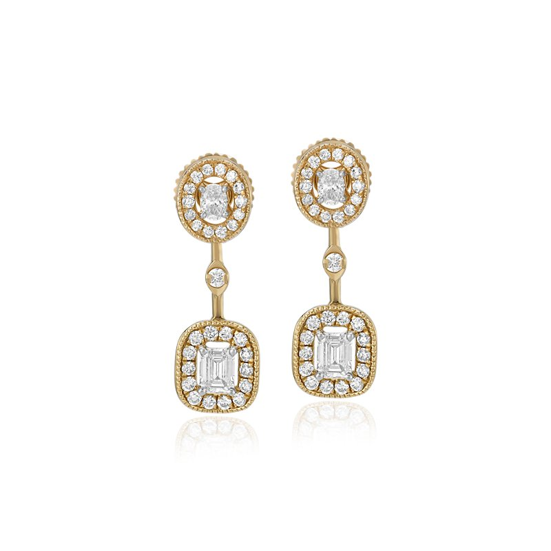 Emerald-Cut and Oval-Cut Diamond Halo Drop Earrings in 14k Yellow