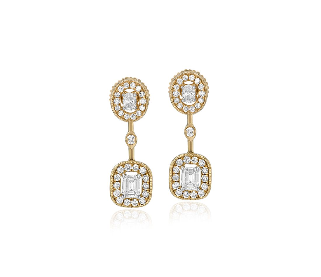 Emerald-Cut and Oval-Cut Diamond Halo Drop Earrings in 14k Yellow Gold (3/4 ct. tw.)