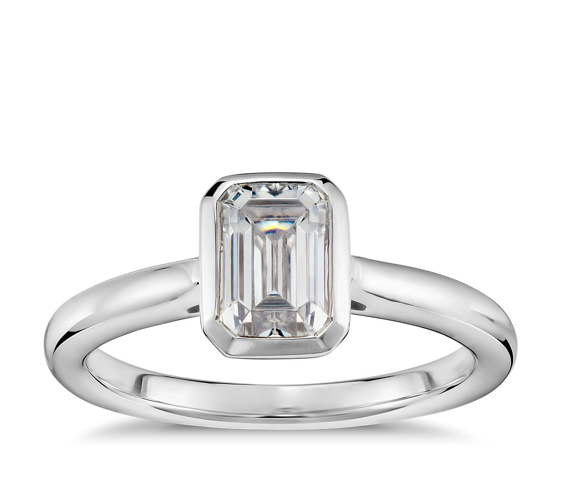 868ffbfd6c423 Emerald-Cut Bezel-Set Solitaire Engagement Ring in 14k White Gold | Blue  Nile