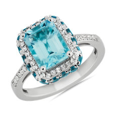 NEW Emerald-Cut Blue and White Topaz Fashion Ring in SterlingSilver