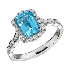 Emerald Cut Swiss Blue Topaz Ring with Diamond Halo in 14k White Gold
