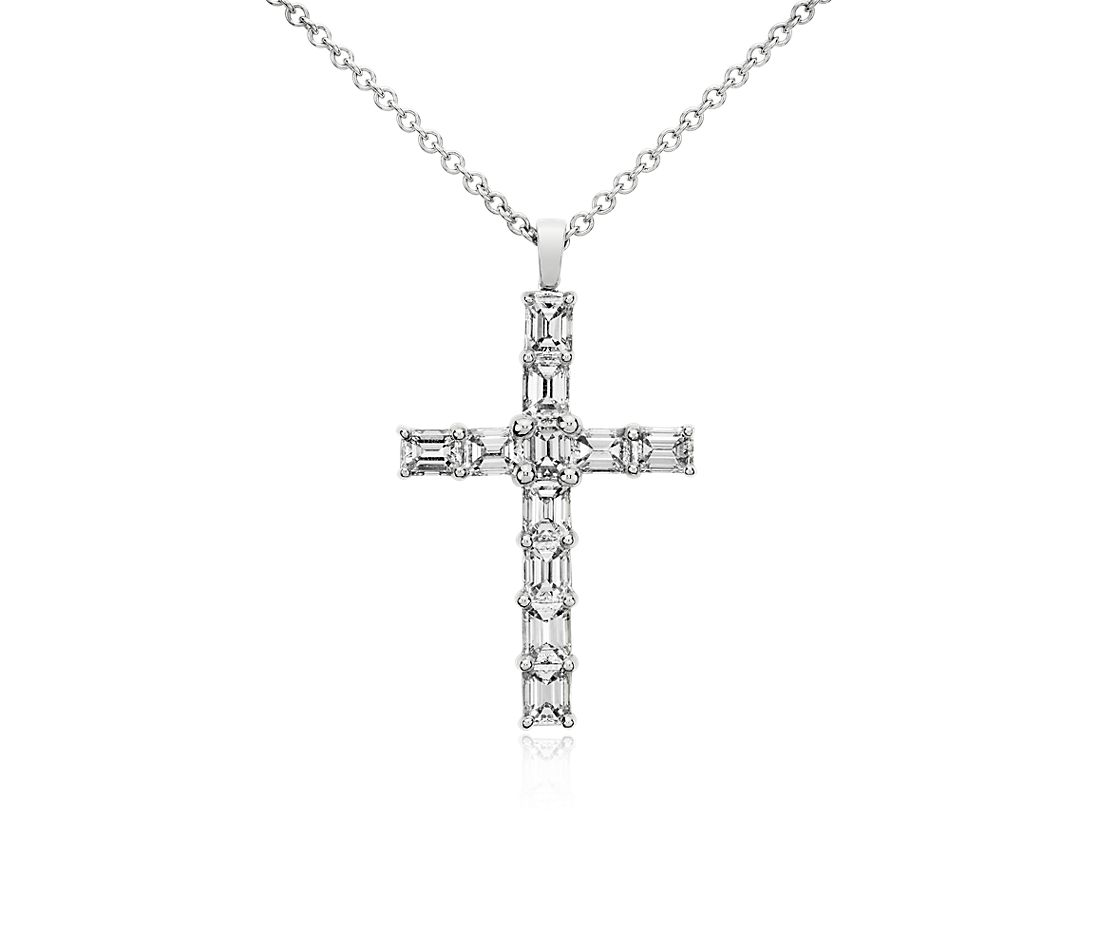 Emerald Cut Diamond Cross Pendant in 18k White Gold (2 ct. tw.)
