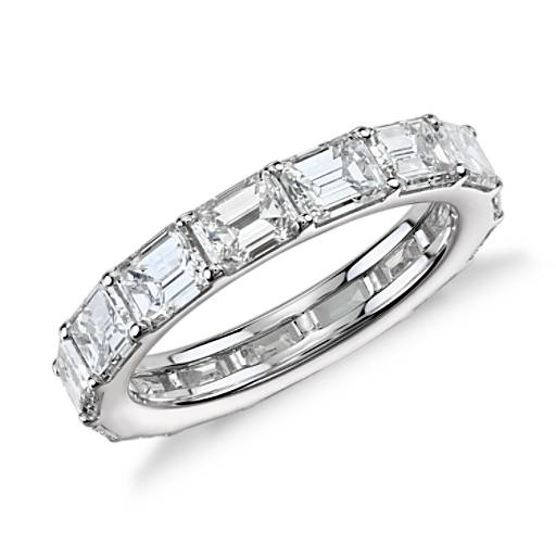 Emerald Cut Diamond Eternity Ring In 18k White Gold 4 Ct