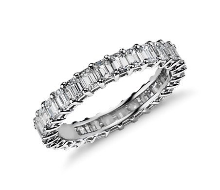 platinum emerald and product cut band eternity diamond bands