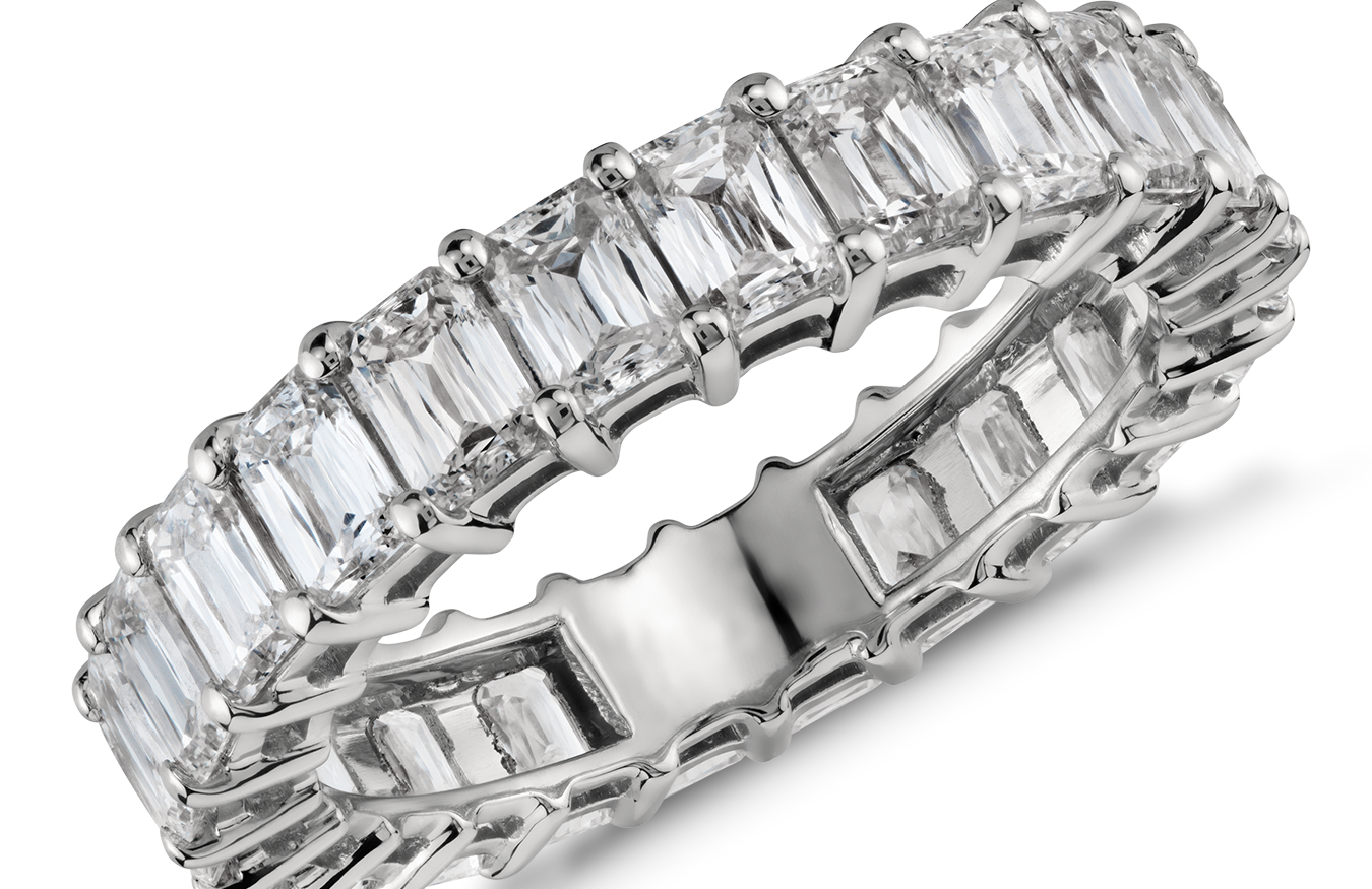 Brilliant Emerald-Cut Diamond Eternity Rings in Platinum