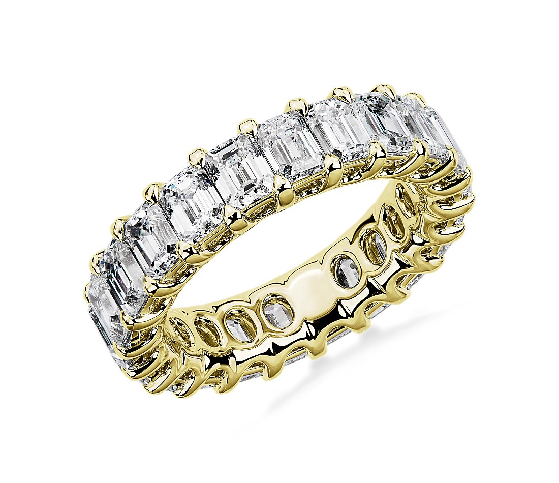 Regal Emerald-Cut Diamond Eternity Ring in 18k Yellow Gold - G/VS2 (5 ct. tw.)