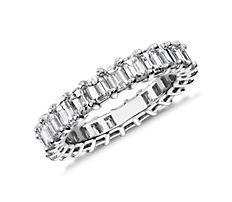 鉑金綠寶石切割鑽石永恆戒指(3.0 克拉總重量)