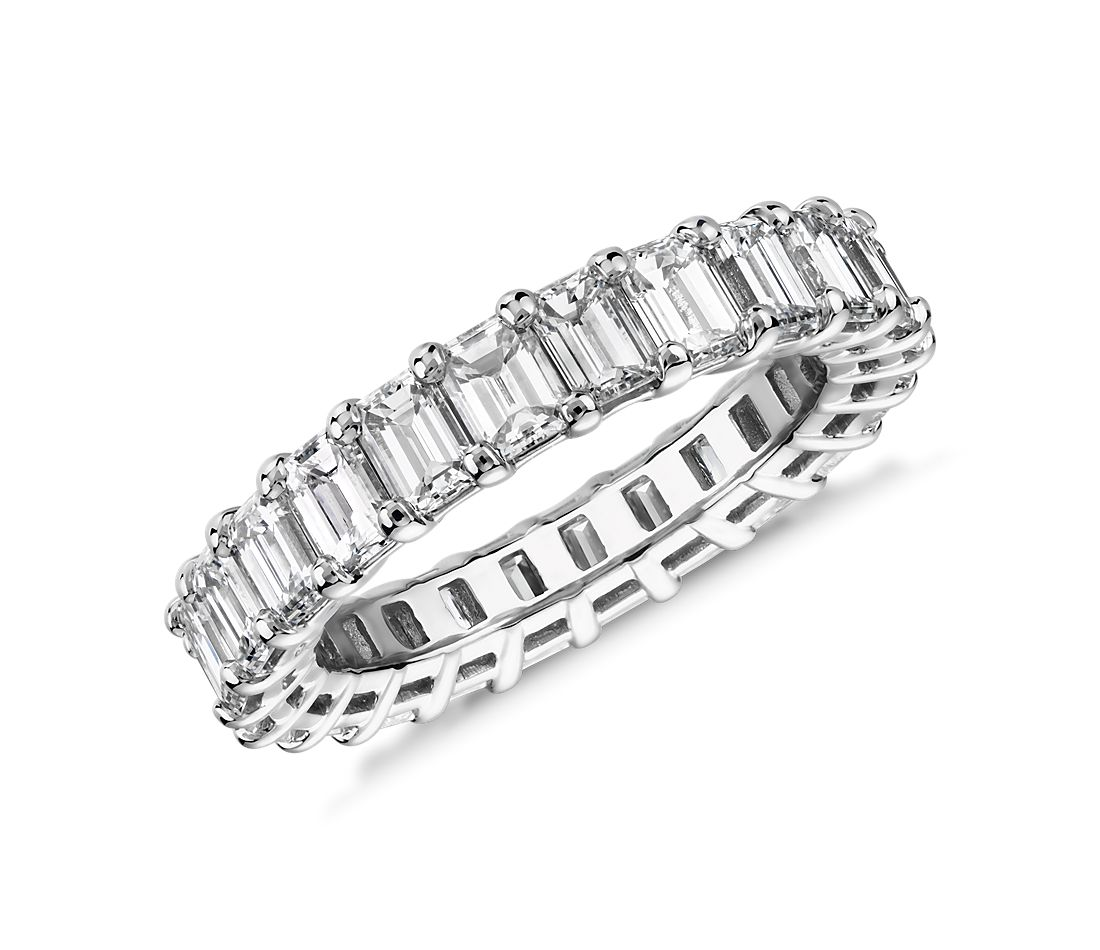 Emerald Cut Diamond Eternity Ring In Platinum 4 0 Ct Tw