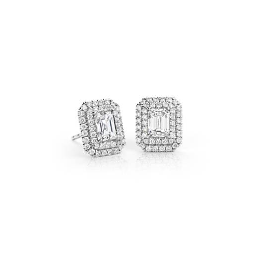 Emerald Cut Diamond Double Halo Earrings In 18k White Gold 1 50 Ct Tw Blue Nile