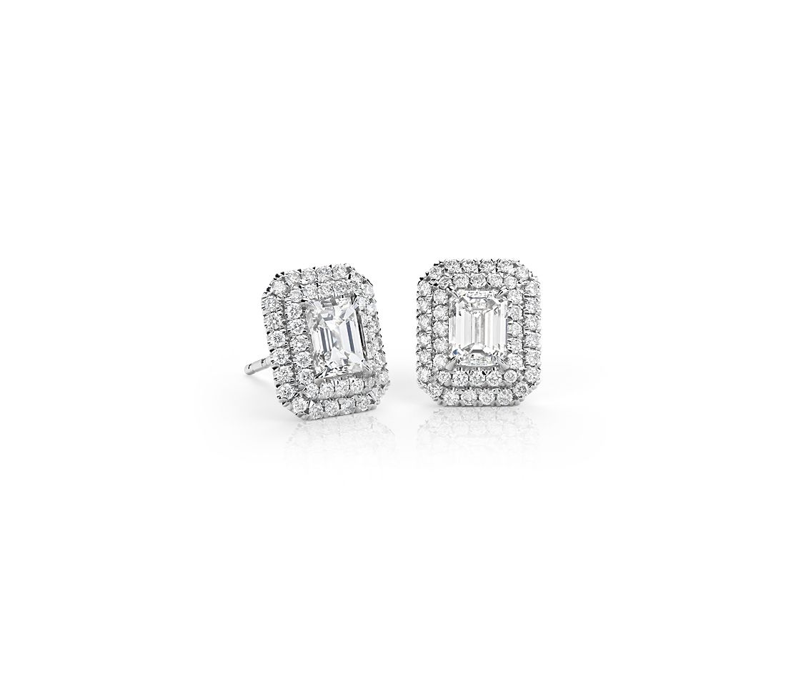Emerald Cut Diamond Double Halo Earrings In 18k White Gold 1 50 Ct Tw