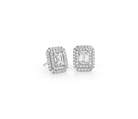 18k 白金绿宝石切割钻石双光环耳环<br>(1.50 克拉总重量)