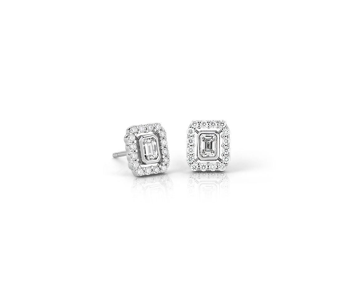 Emerald Cut Diamond Floating Halo Earrings In 18k White Gold 1 2 Ct Tw Limited Edition
