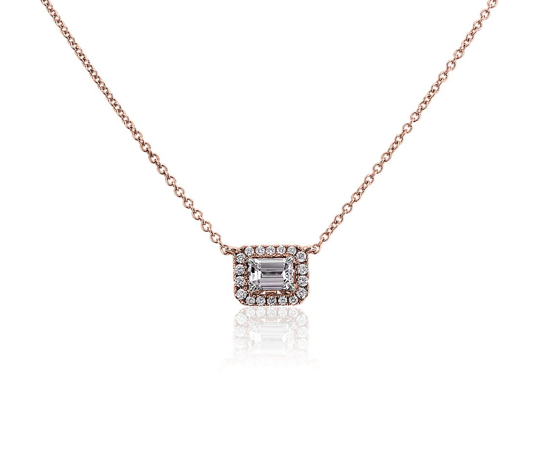 Emerald-Cut Diamond Halo Necklace in 14K Rose Gold (1/2 ct. tw.)