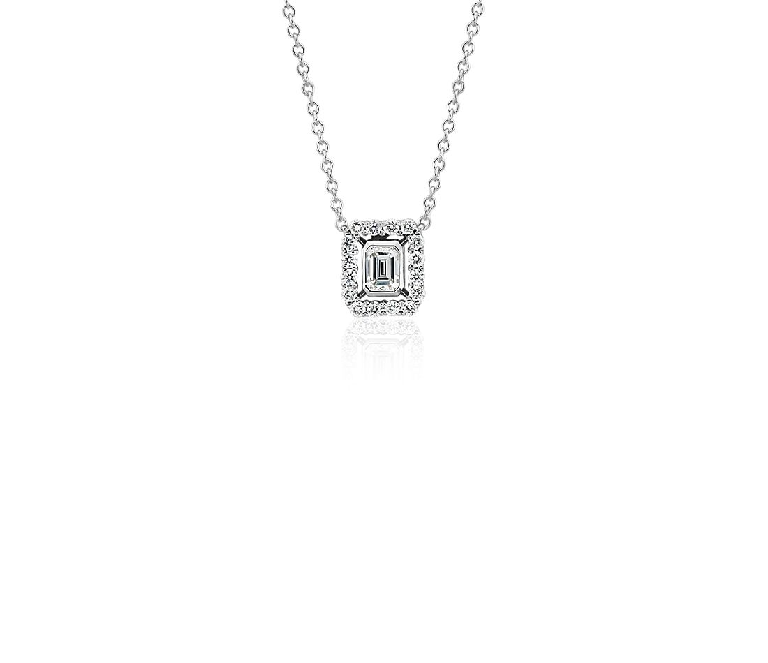 Emerald Cut Diamond Floating Halo Necklace In 18k White