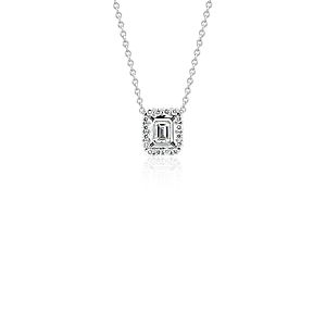 NEW Emerald-Cut Diamond Floating Halo Necklace in 18k White Gold