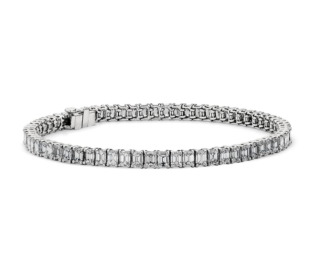 Emerald Cut Diamond Tennis Bracelet In Platinum 7 50 Ct