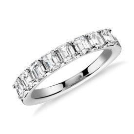 Bague en diamant taille émeraude classique en platine (1,20carats, poids total)
