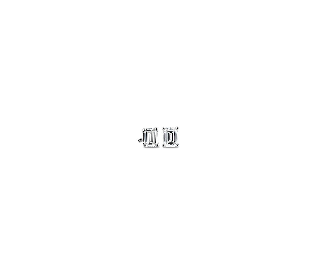 Emerald Cut Diamond Stud Earrings in 14k White Gold (0.46 ct. tw)