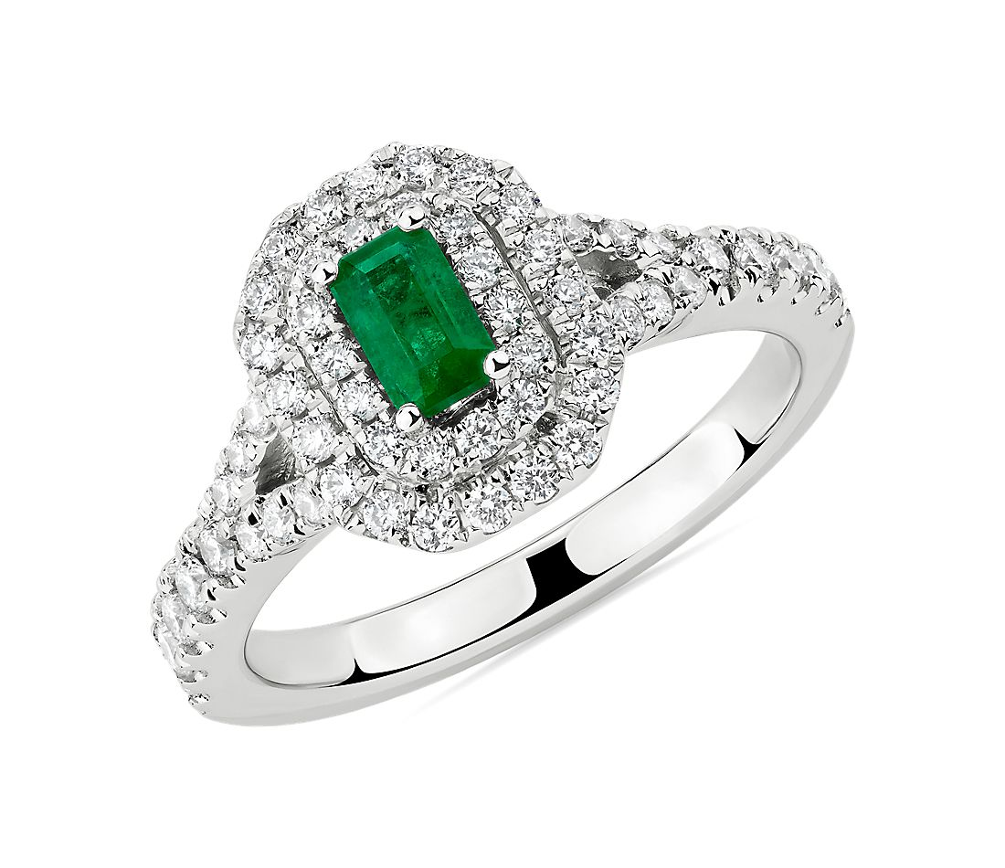 Emerald Cut Emerald and Diamond Double Halo Ring in 14k White Gold (5x3mm)