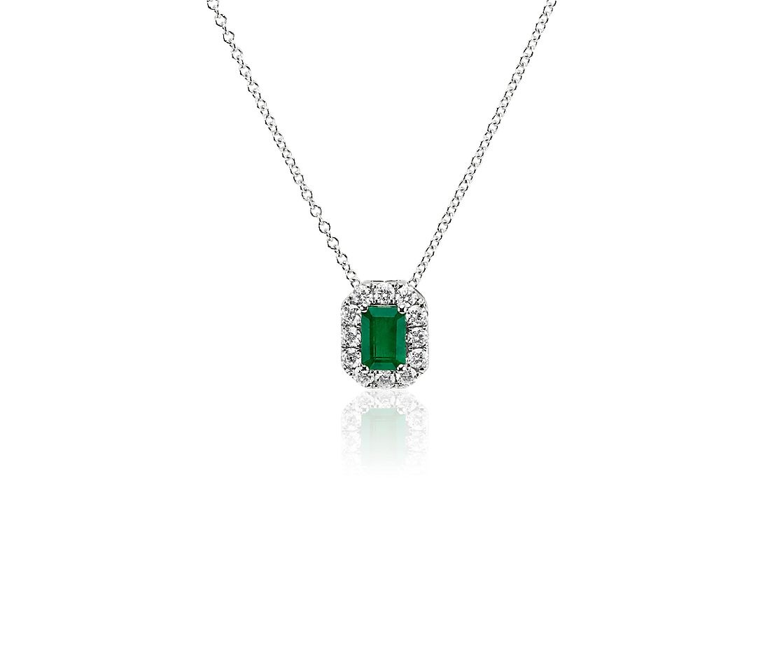Emerald Cut Emerald and Diamond Halo Pendant in 14k White Gold