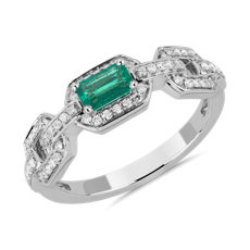 NEW Emerald-Cut Emerald and Diamond Ring in 14k White Gold
