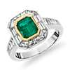 Emerald-Cut Emerald and Baguette Diamond Halo Engagement Ring in 18k White and Yellow Gold