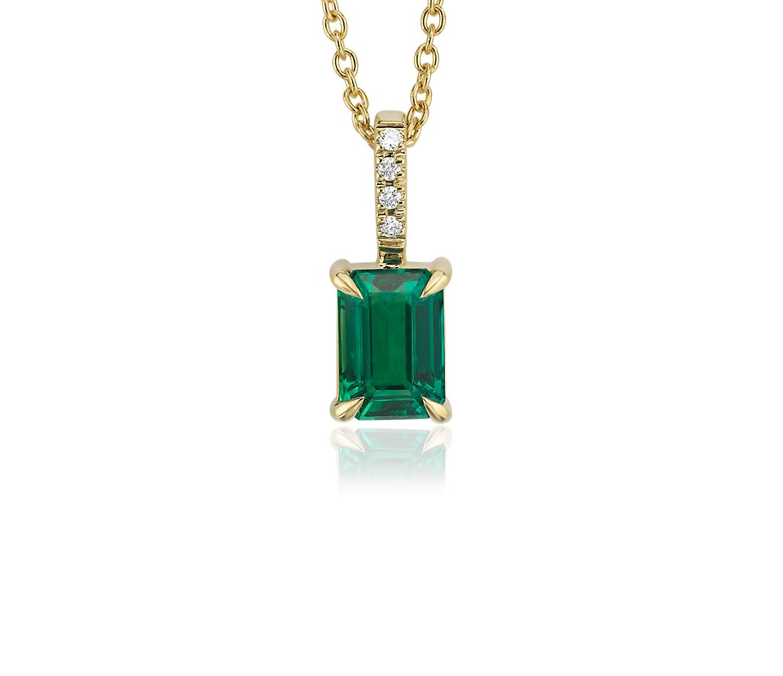 Emerald-Cut Emerald and Diamond Pendant in 18k Yellow Gold (7x5mm)